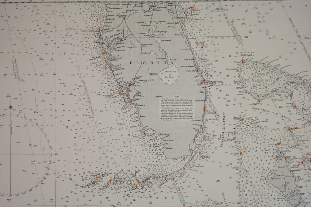 Cuba, West India Islands and Caribbean Sea – Florida, Bahama's and Greater Antilles British – Admiralty Chart 761, published in 1876