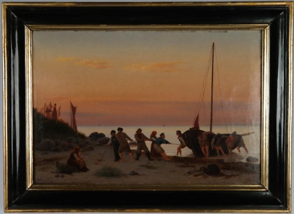 Romantic evening scene – Julius Friedlander, Denmark, 1855