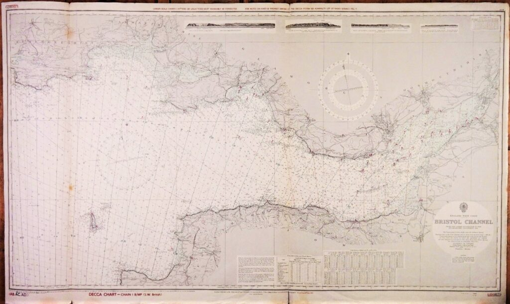 Bristol Channel – England West Coast – British Admiralty Chart 1179, published in 1953