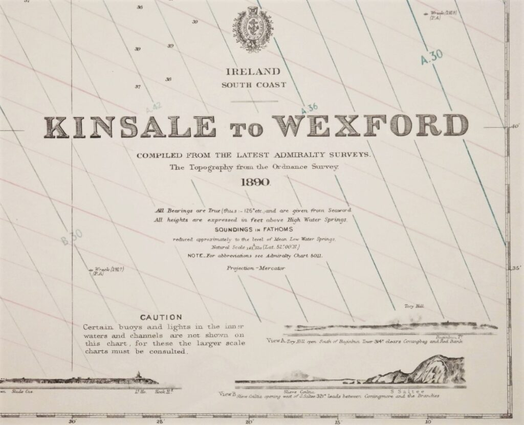 Kinsale to Wexford – Ireland South Coast – British Admiralty Chart 2049, published in 1890
