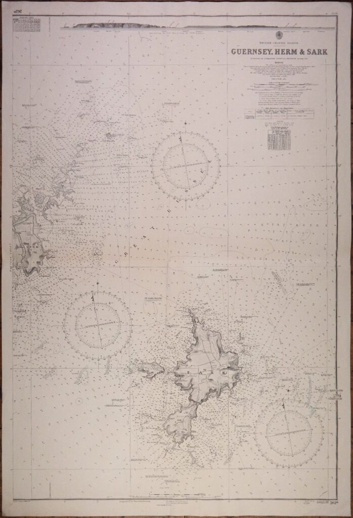 Guernsey, Herm & Sark – the English Channel Islands – British Admiralty Chart 262a, published 1862.