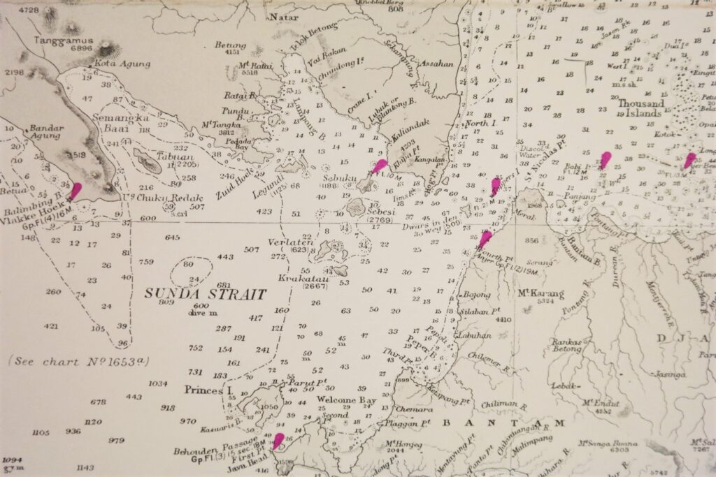 Dutch Indies – Western and Eastern portions of the Eastern Archipelago – British Admiralty Chart 941a/b and 942a/b in 4 sheets, published 1867 – 1920
