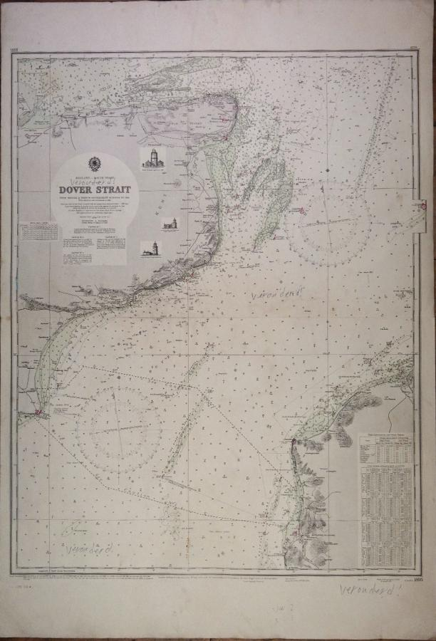 Dover Strait – England South Coast – British Admiralty Chart 1895, published in 1942