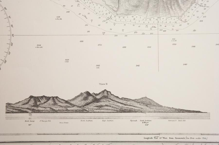 Monserrat – Plymouth Anchorages, West Indies – British Admiralty Chart 254, published in 1869