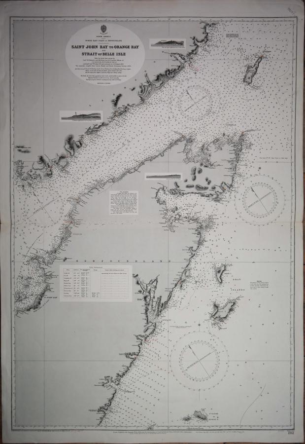 Newfoundland, North America – British Admiralty Chart 282, published 1882