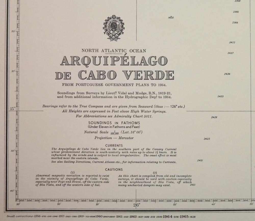 Arquipélago de Cabo Verde – North Atlantic – British Admiralty Chart 366, published 1820