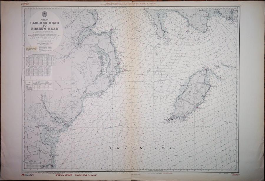 Irish Sea – Clogher Head to Burrow Head – British Admiralty Chart no. 45, published in 1955