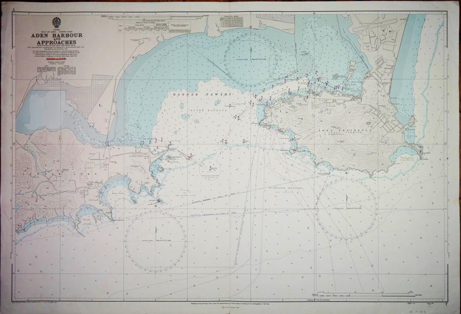 Aden Harbour and Approaches – Gulf of Aden British Admiralty Chart no. 7, published in 1966
