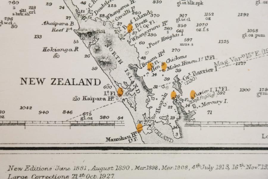 Fiji Islands, Papua Guinea, Australia, Salomon Islands – Pacific Ocean  British Admiralty Chart 780, published in 1875