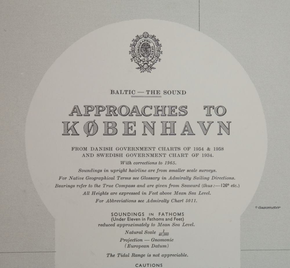 Kobenhavn, Baltic – The Sound – British Admiralty Chart 790, published in 1951