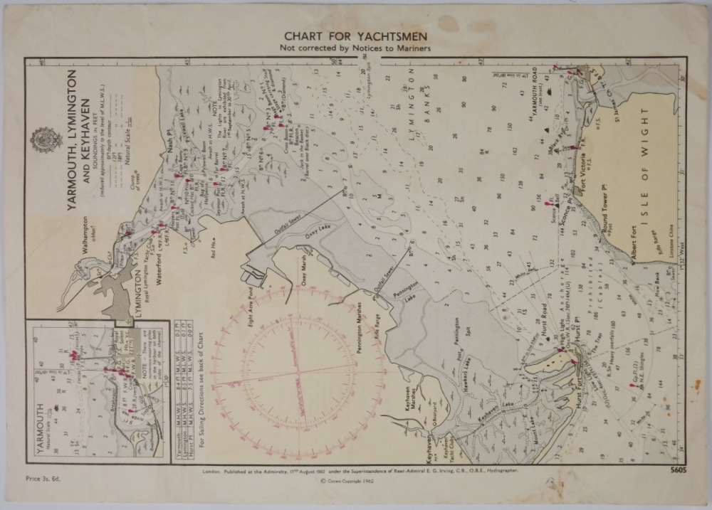Yarmouth, Lymington and Keyhaven – Chart for Yachtsmen – British Admiralty Chart no. 5605, published in 1962