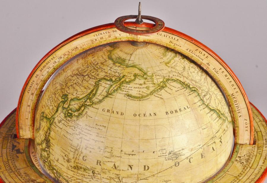 Interesting Table Globe of paper mache – P. Lapie/Lorrain, Paris ca. 1840