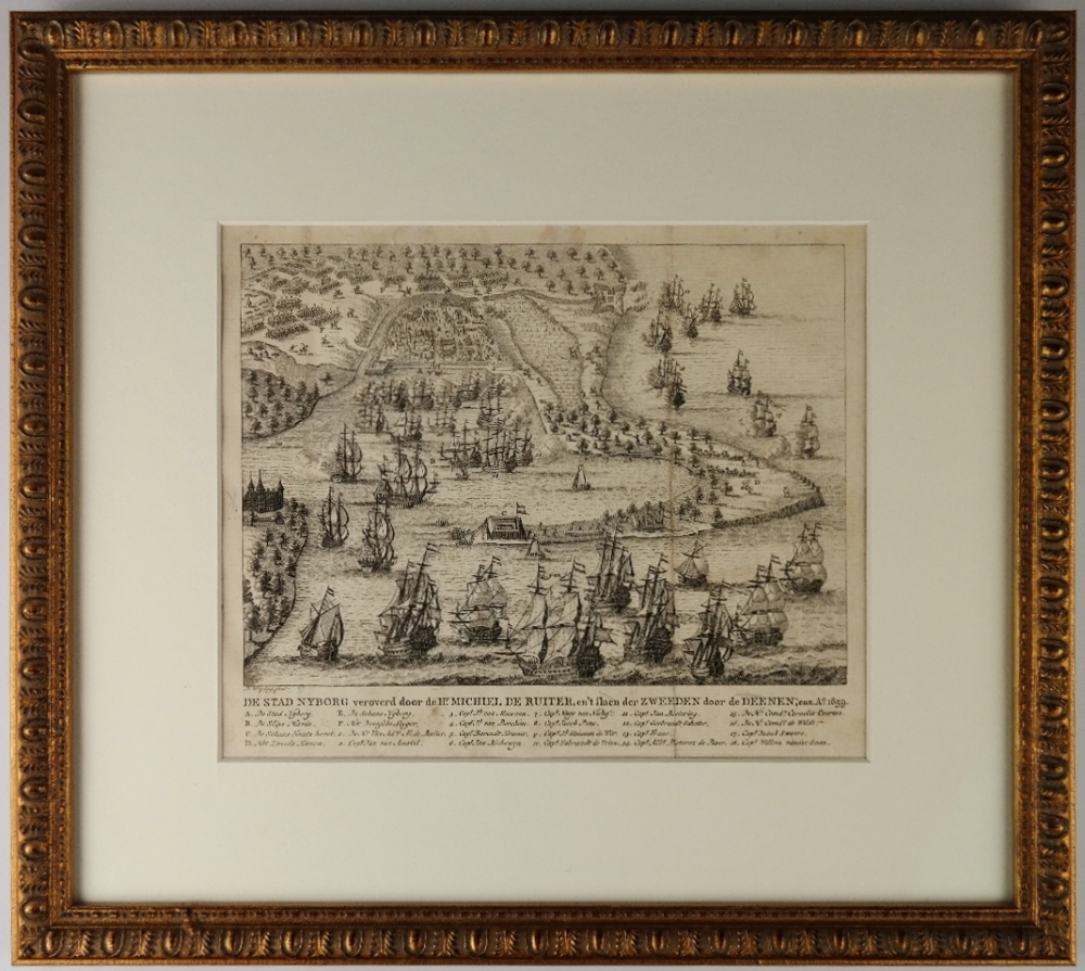 Michiel de Ruyter and the Battle at the City of Nyborg, Sweden in 1659 – 18th century engraving