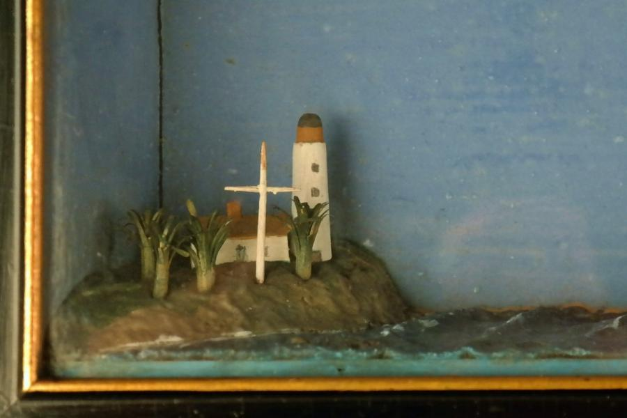 Diorama with Frigate, Lighthouse and Signal Mast – 19th century
