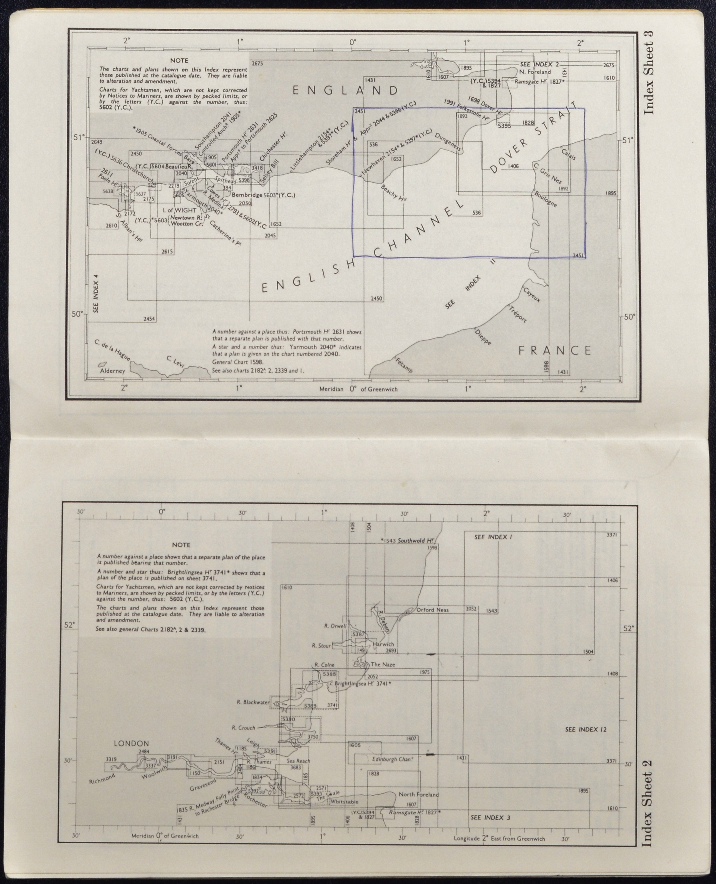 Home Edition 1969 - Catalogue of Admiralty Charts, England ...