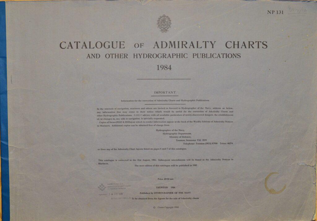 Catalogue of Admiralty Charts – Taunton, England, 1984