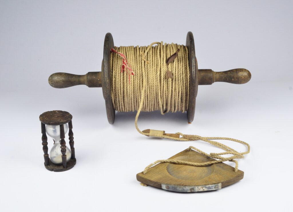 Ship's Hand log with reel, chip and hourglass – ca. 1800