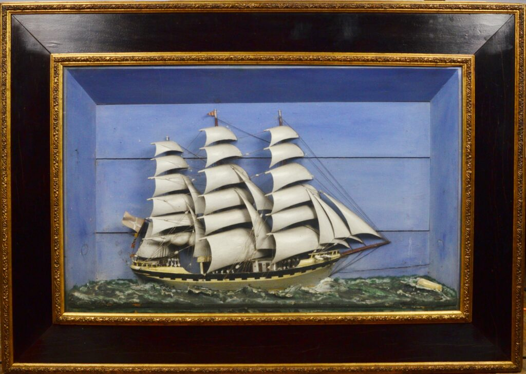 Spectacular Diorama with Frigate Betty, 19th century