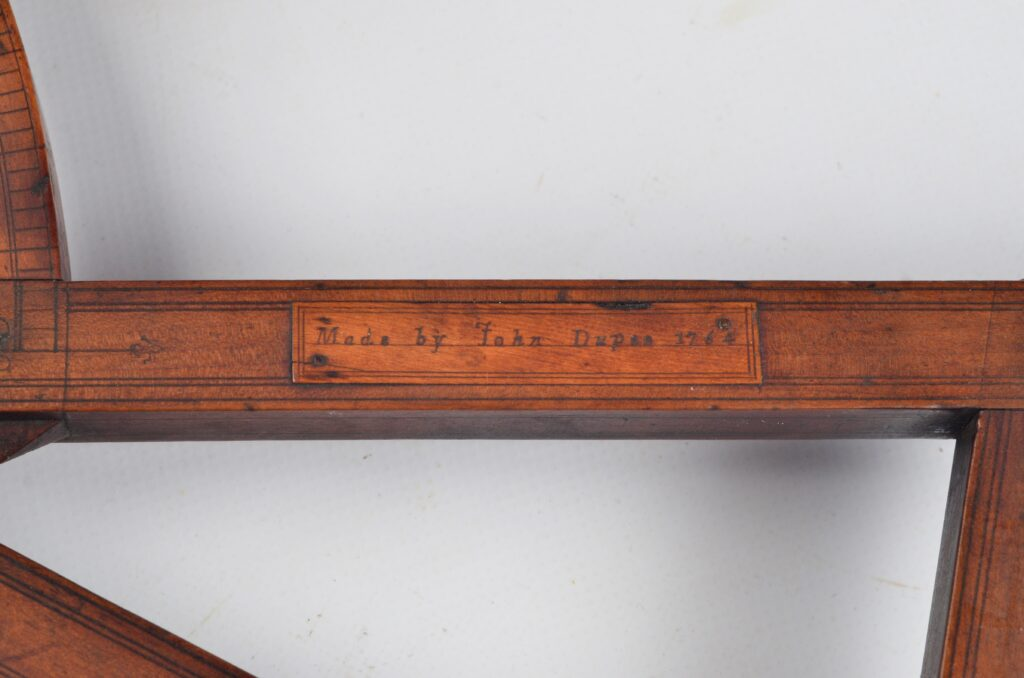 Davis Quadrant or Backstaff with vanes – John Dupee, Boston, 1764