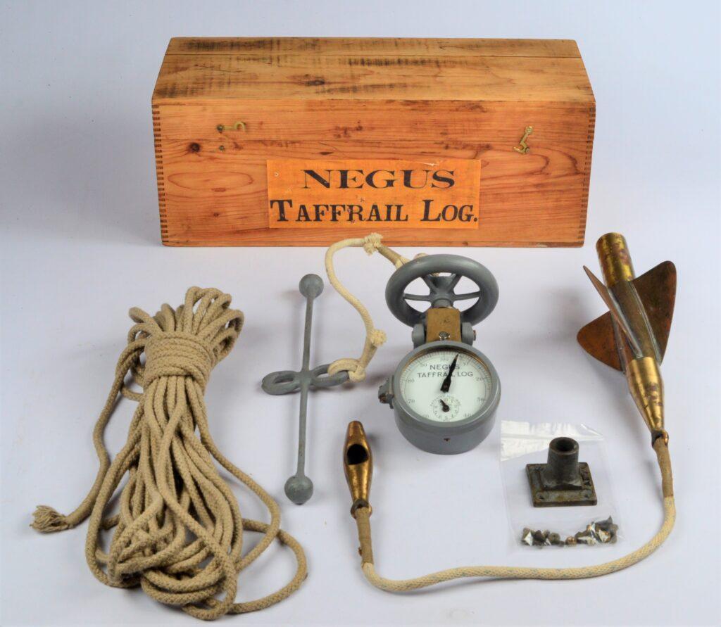 Negus improved Taffrail Log in wooden case – New York, ca. 1900
