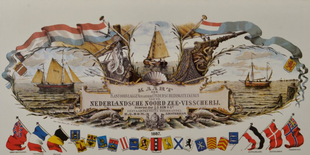 Office flags North Sea Fishery – Bom, Amsterdam 1887
