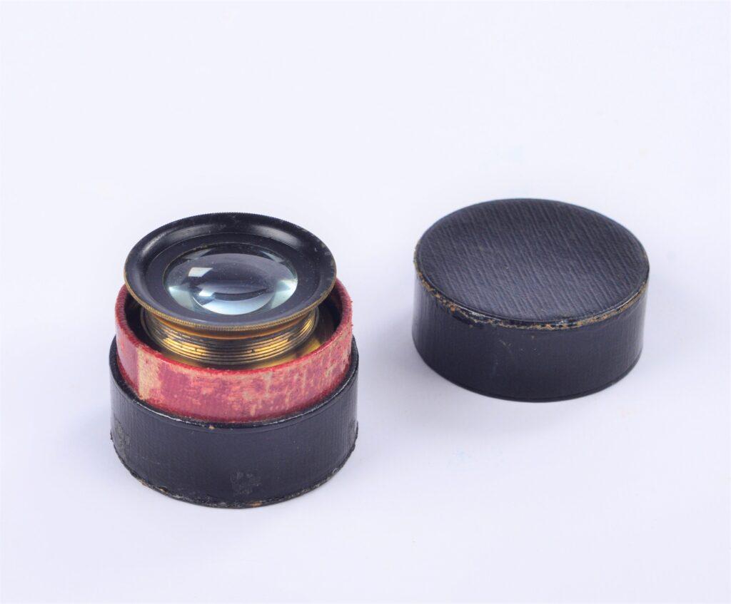 Brass Chart Magnifier in black box – ca. 1900