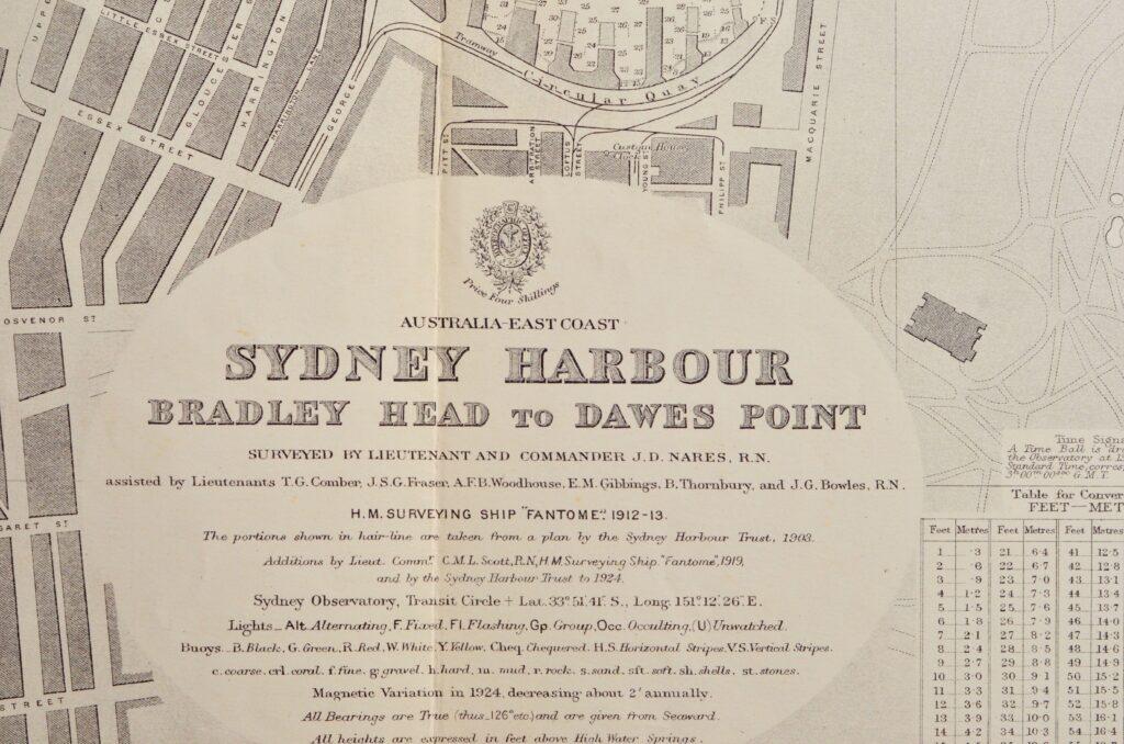 Sydney Harbour – Australia – East Coast British Admiralty Chart 1206, published 1915