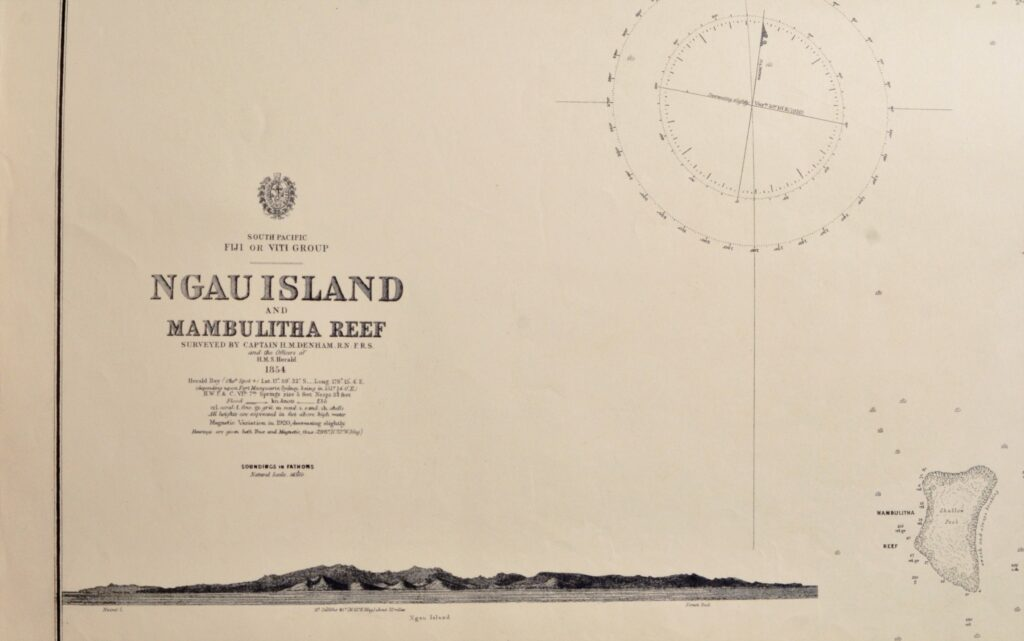 Fiji Islands – Ngau Island – South Pacific British Admiralty Chart 1251, published in 1866