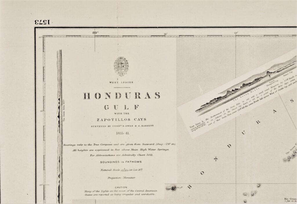 West-Indies – Honduras British Admiralty Chart 1573, published in 1844