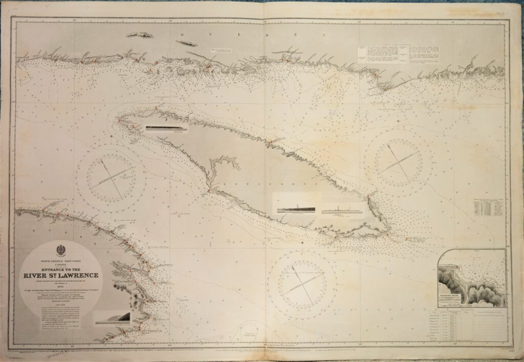 River St. Lawrence – Canada, East Coast British Admiralty Chart 1621, published in 1891
