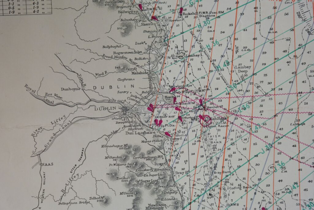 Ireland – East Coast British Admiralty Chart 1824a, published in 1886