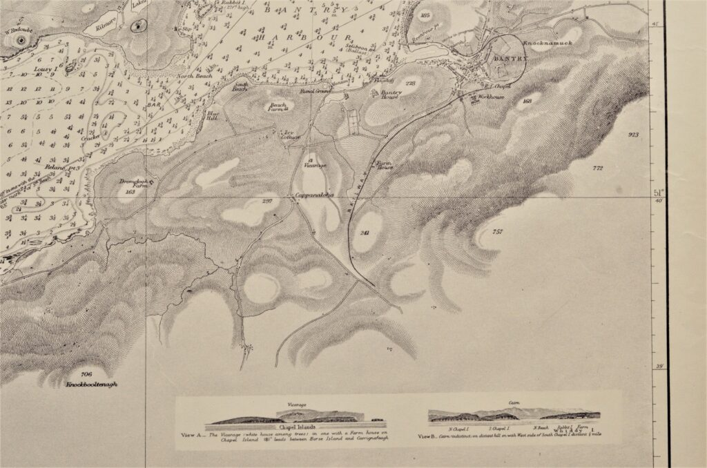 Bantry Bay, sheet 2 – West Coast Ireland British Admiralty Chart 1838, published in 1847