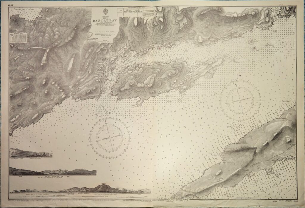 Bantry Bay, sheet 1 – West Coast Ireland British Admiralty Chart 1840, published in 1856