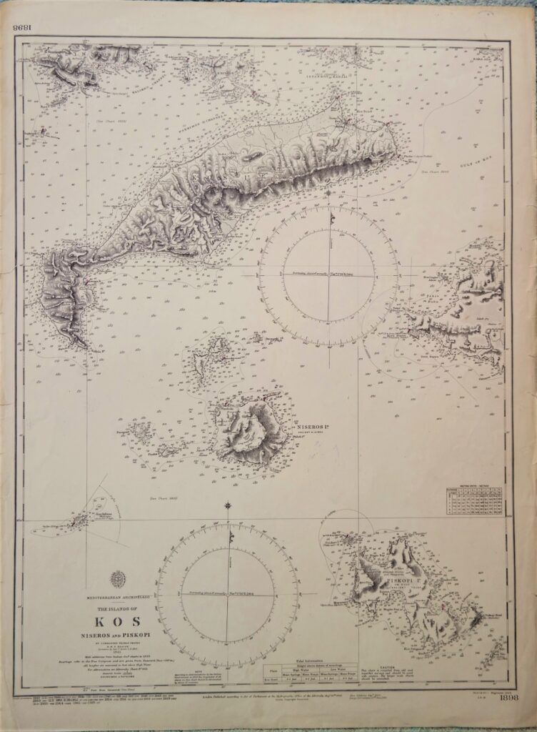 Greece – Island of Kos, Mediterranean British Admiralty Chart 1898, published in 1848