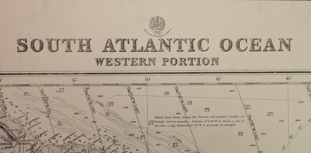 South Atlantic Ocean – Western Portion British Admiralty Chart 2202b, published in 1871