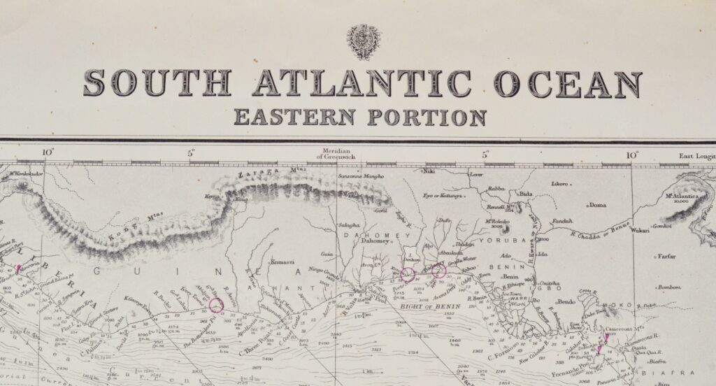 South Atlantic Ocean – Eastern Portion British Admiralty Chart 2202a, published 1871