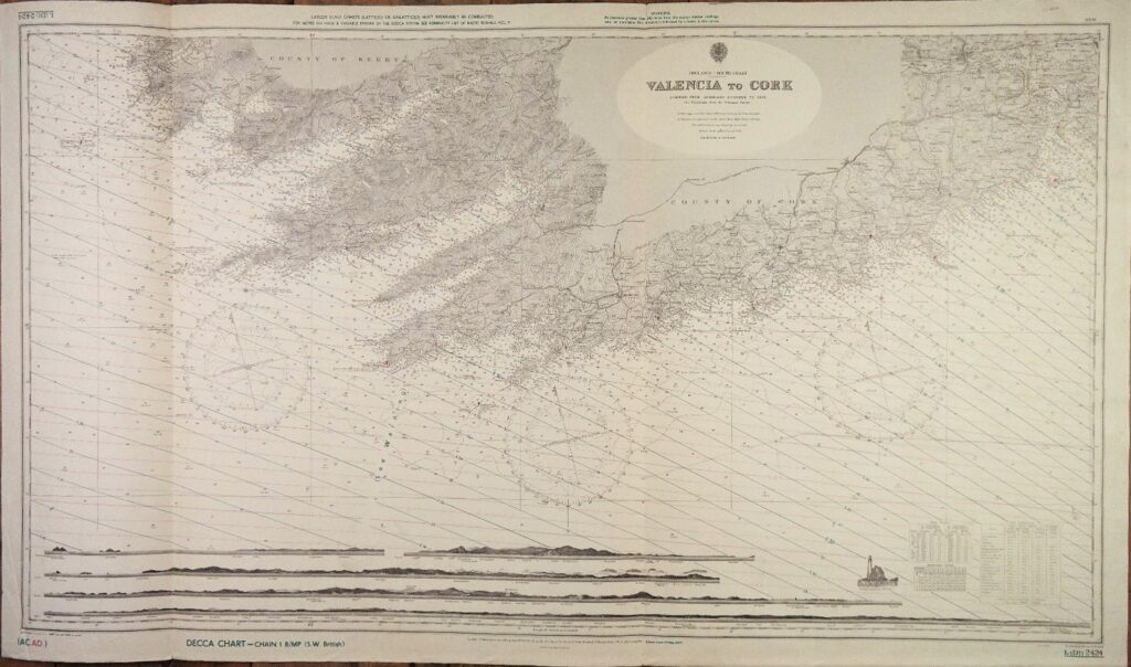 Ireland South Coast – Valencia to Cork  British Admiralty Chart 2424, published 1908