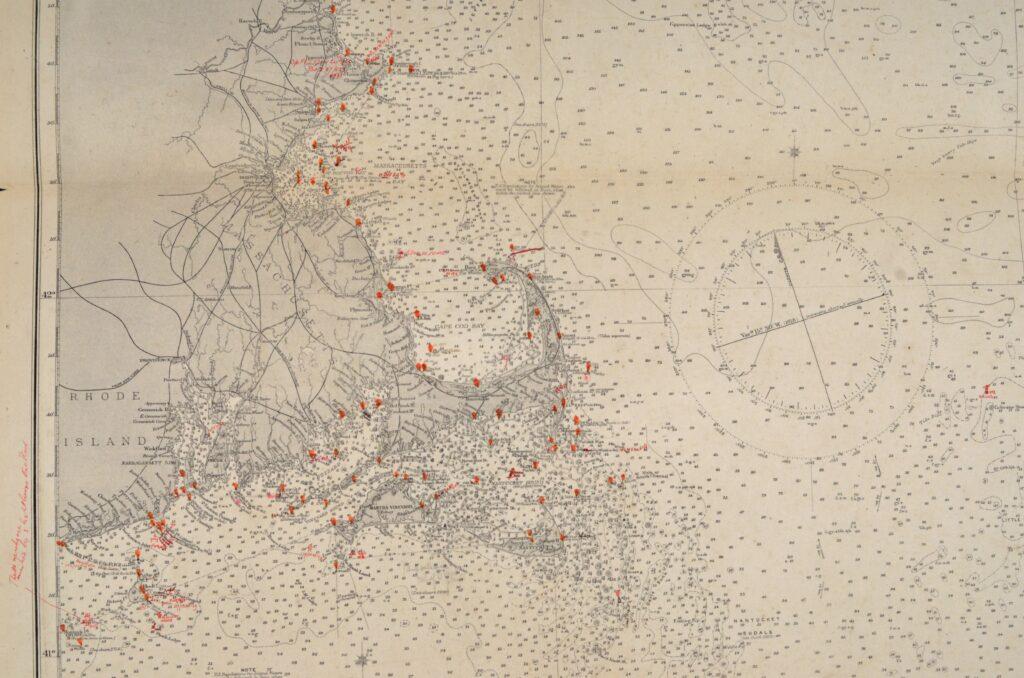United States East Coast – Block Island, Nantucket, Rhode Island British Admiralty Chart 2492, published 1887