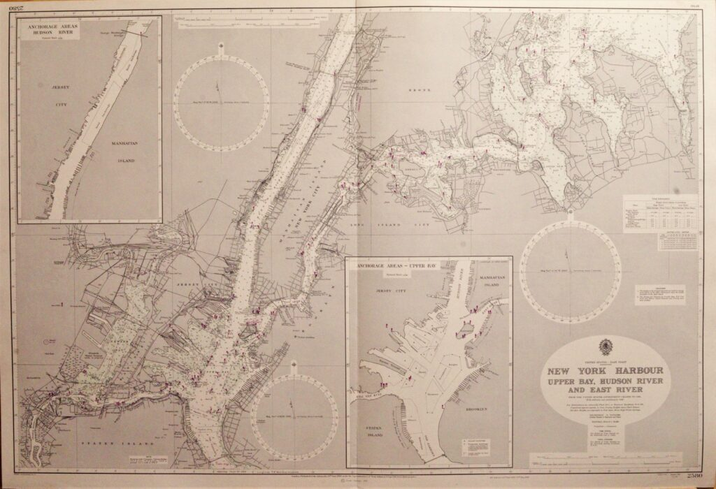 New York Harbour, Upper Bay – United States British Admiralty Chart 2580, published 1950