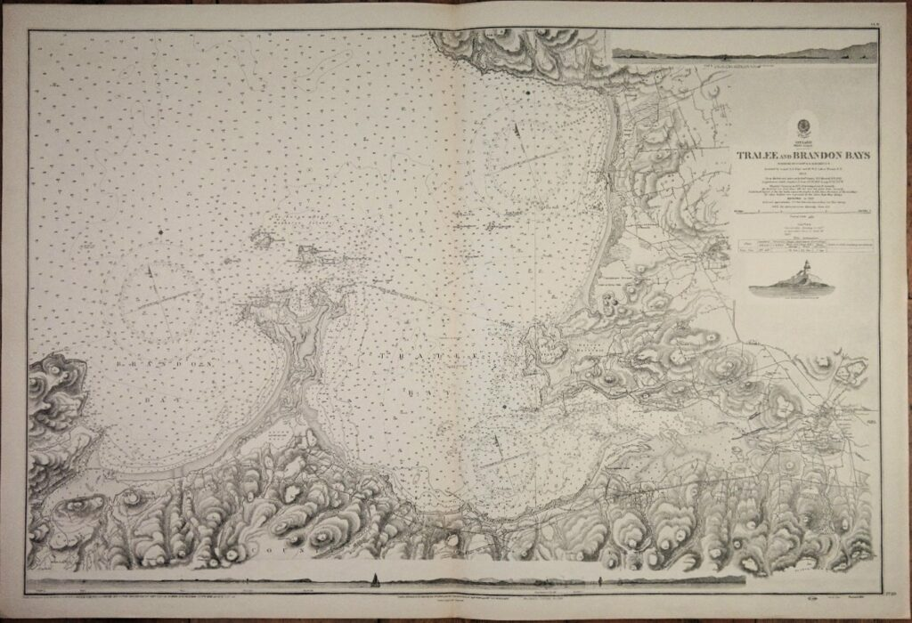 Ireland West Coast – Tralee and Brandon Bays  British Admiralty Chart 2739, published in 1855