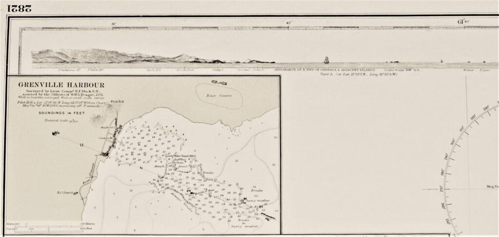Granada, West-Indies – Windward Islands British Admiralty Chart 2821, published in 1861