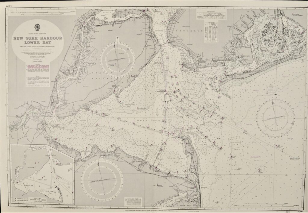 New York Harour, Lower Bay – United States British Admiralty Chart 3204, published 1950