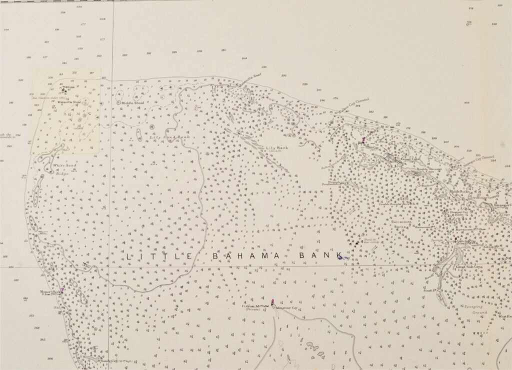 Bahama's – West Indies British Admiralty Chart 399, published 1886