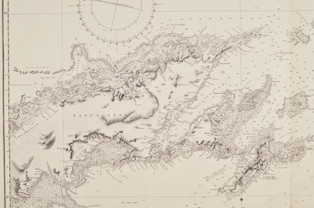 South Pacific – Fiji Islands, Easren Group British Admiralty Chart 440, published 1883