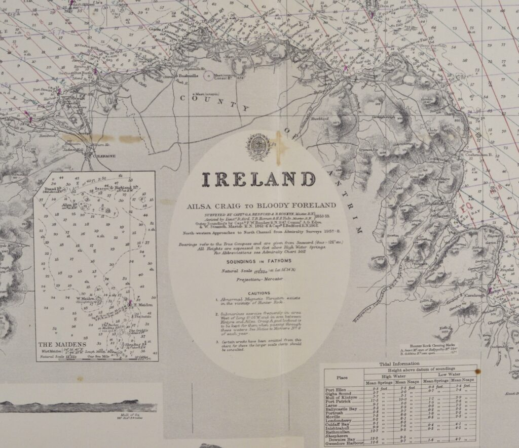 Ireland – Ailsa Craig to Bloody Foreland British Admiralty Chart 46, published in 1861