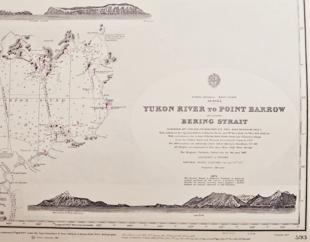 North America, West Coast Alaska – Bering Street British Admiralty Chart 593, published in 1907