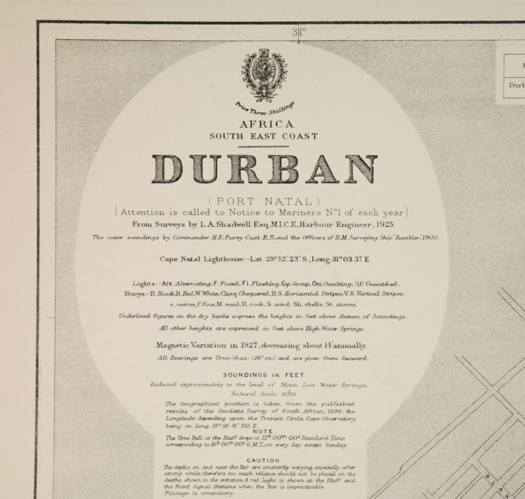 Africa, South East Coast – Durban British Admiralty Chart 643, published 1924