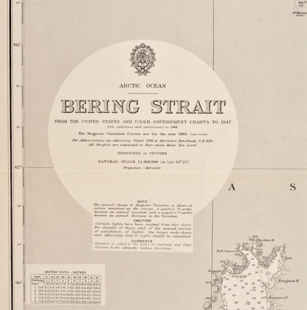 Artic Ocean – Bering Street  British Admiralty Chart 654, published 1884