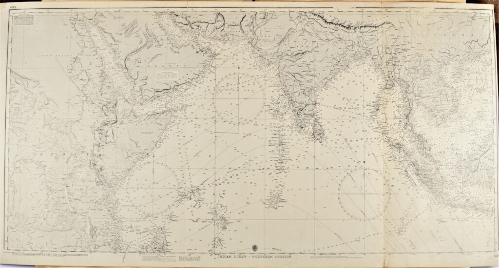 The Indian Ocean in two sheets British Admiralty Chart 748A and B, published 1870