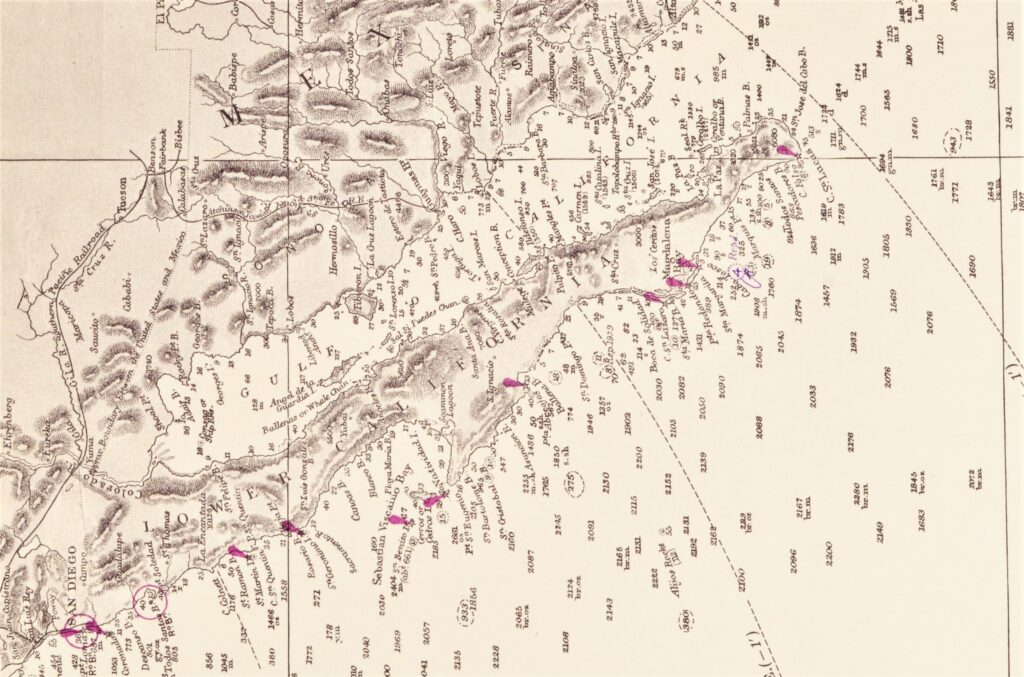 Pacific Ocean – West Coast USA British Admiralty Chart 787, published 1877